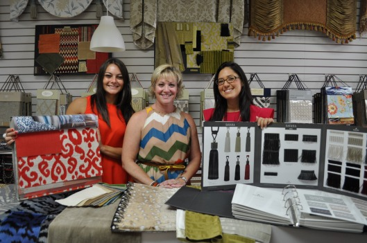 Ella Allure Owner and Principal Designer Daniela Palumbo, Stark Fabric and Wallcovering Sales Representative MaryRita Williams (a Westfield resident) and Houles Sales Representative Lauren Jurgensen. Credits: Jackie Lieberman